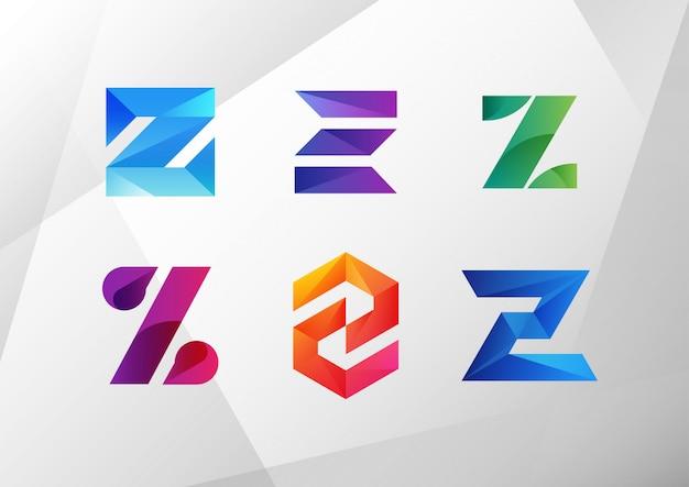 Modern abstract gradient z logo set