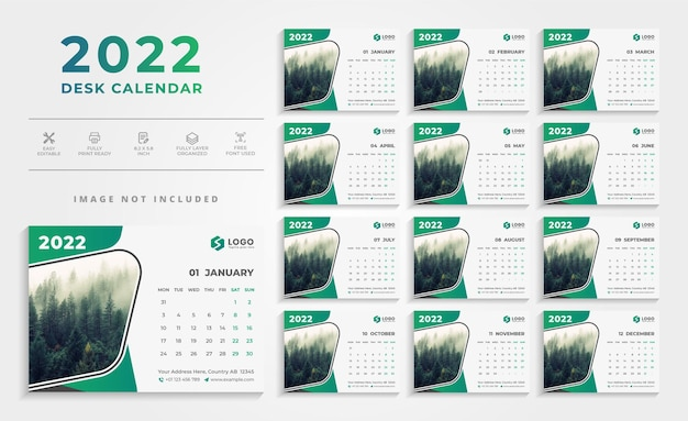 Modern abstract green color 2021 desk calendar design template