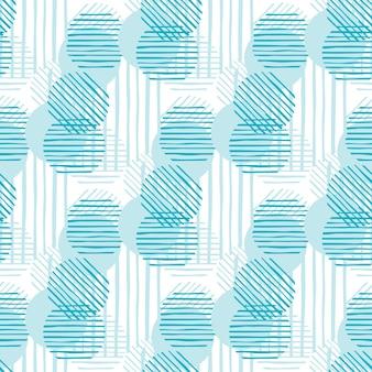 現代の抽象的な緑色の円の形とストライプ。混沌としたパターンの円の線。シームレスパターンイラスト。