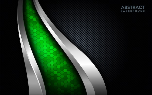 Modern abstract green tech with silver line and dark carbon background.
