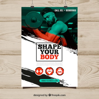 Modern abstract gym flyer template