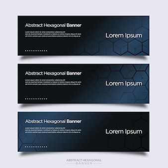 Modern abstract hexagonal banner design template