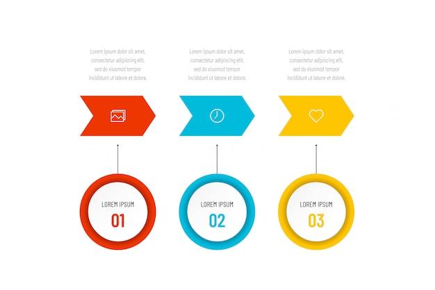 Современная абстрактная инфографика с 3 шагами или элементами процессов и символами. бизнес-концепция иллюстрация