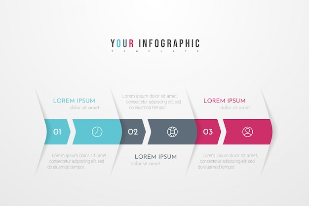 Современная абстрактная инфографика с тремя шагами или элементами процессов. бизнес-концепция векторная иллюстрация
