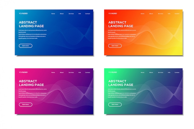 Modern abstract landing page set