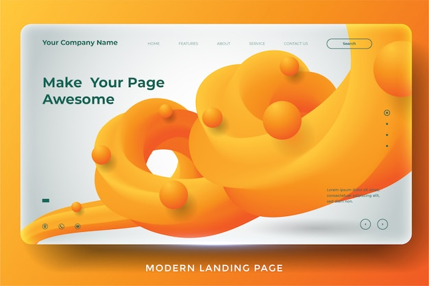 Modern abstract landing page template design