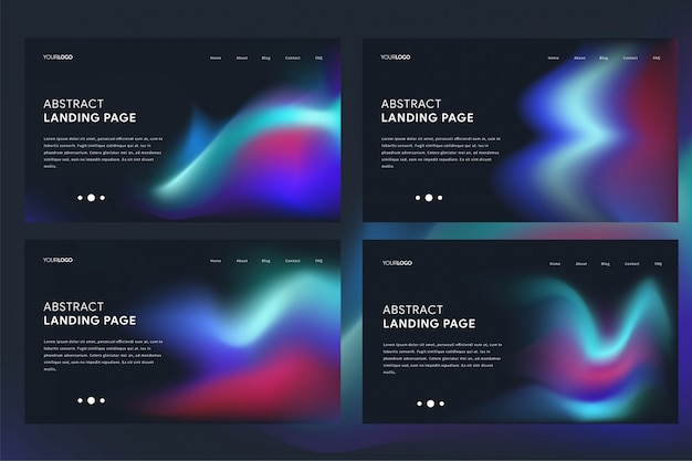 Modern abstract landing page template with vibrant wave theme