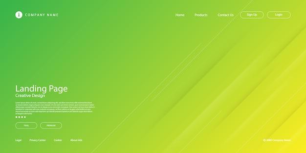 斜めの線またはストライプの要素とデジタルテクノロジーをテーマにした黄緑色のパステルグラデーションのモダンな抽象的なランディングページ。