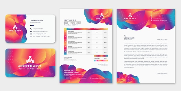 Modern abstract letterhead with business card and invoice design template set