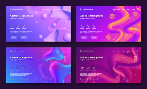 Modern abstract liquid landing page background