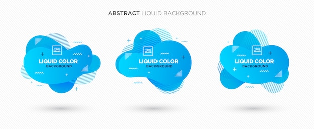 Modern abstract liquid vector banner set in blue coral colors