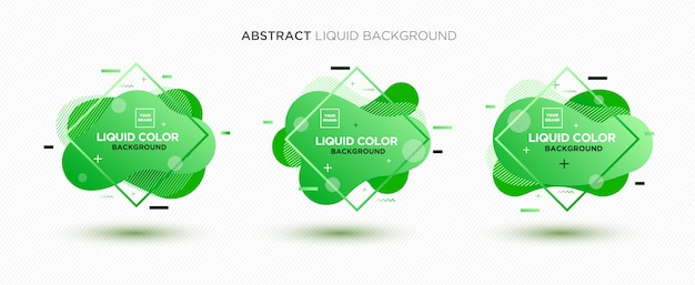 Modern abstract liquid vector banner set in green colors.