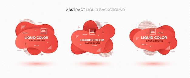 Modern abstract liquid vector banner set in living coral colors