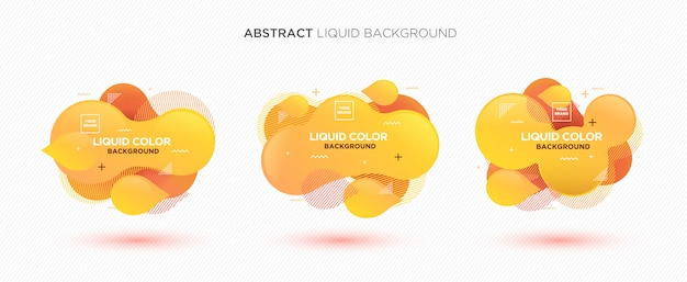 Modern abstract liquid vector banner set in yellow colors.