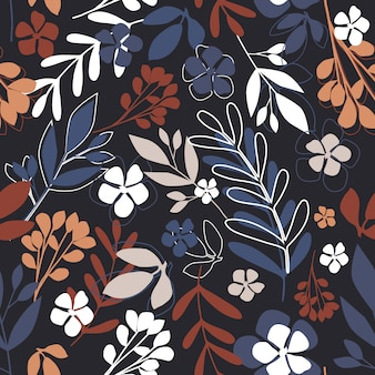 Modern abstract little flowers and leaves endless wallpaper.
