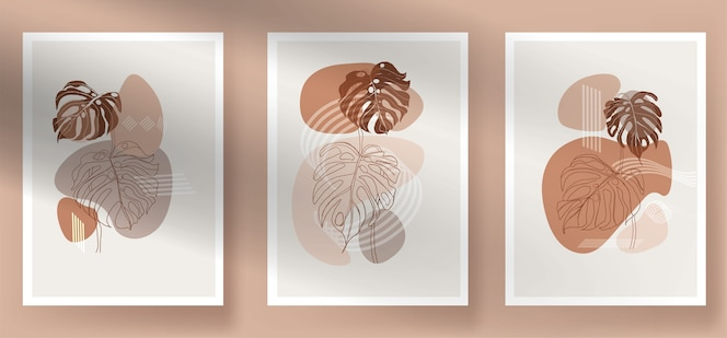 Modern abstract monstera boho leaves