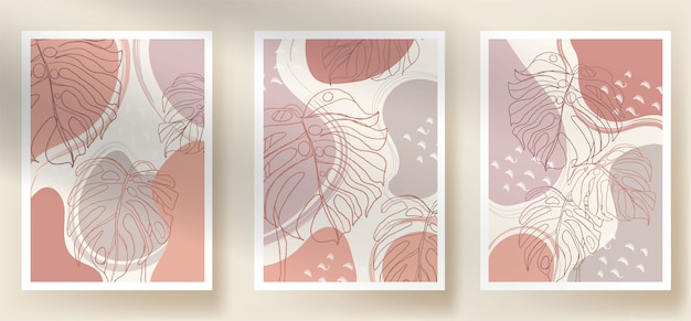 Modern abstract monstera boho and shapes leaves