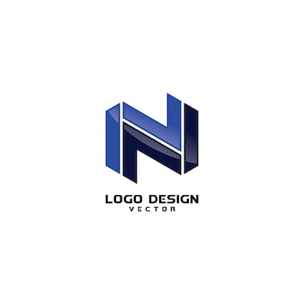 Modern abstract n letter logo template vector