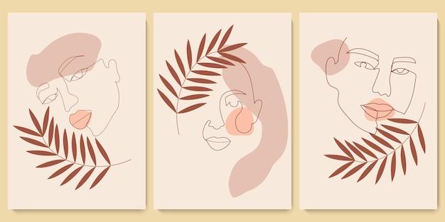 Современные абстрактные однолинейные минималистичные женские лица и фон искусства с различными формами и растениями для украшения стен, дизайна открытки или брошюры. векторные иллюстрации.