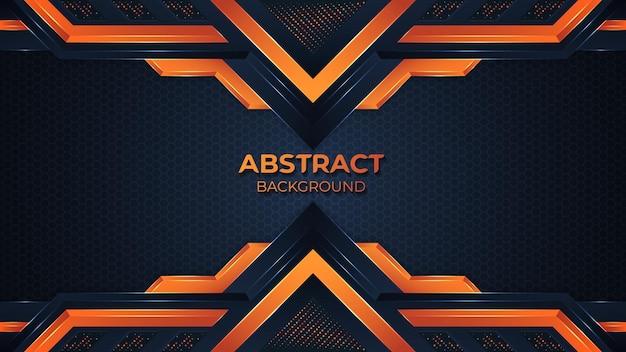 エレガントな形と輝きのドット要素の装飾とモダンな抽象的なオレンジ色の幾何学模様の背景