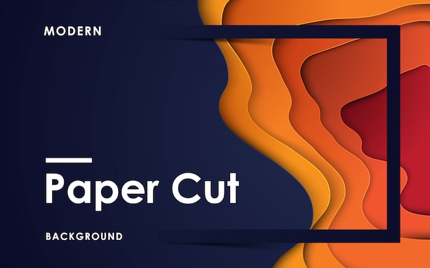 Modern abstract orange paper cut background