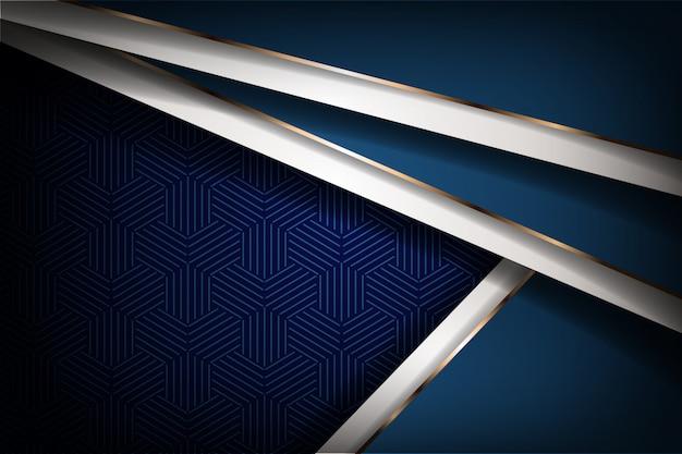 Современный абстрактный синий королевский белый люкс с сочетанием золотой линии