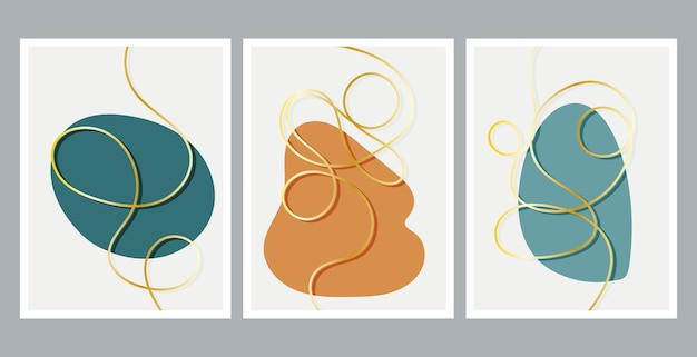 현대 추상 회화. 황금 낙서 라인. 유체 기하학적 도형의 집합입니다. 추상 손으로 그린 수채화 효과 모양. 가정 장식 디자인.