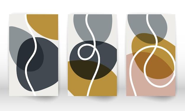 現代の抽象絵画。幾何学的形状のセット。モダンアートプリント。落書きラインのある現代的なデザイン。