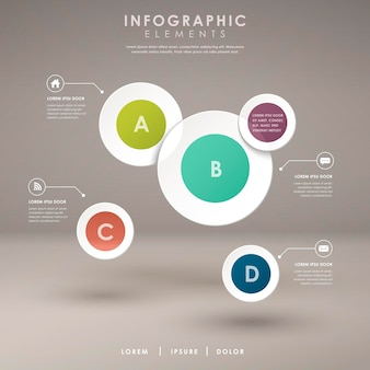 Modern abstract paper pie chart infographic elements