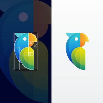 Modern abstract parrot multicolored illustration with golden ratio