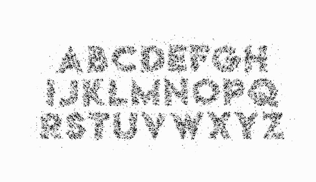 Modern abstract particle font set of alphabet text design.