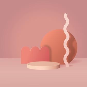 테라코타 색상의 현대 추상 연단 디스플레이