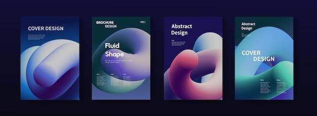 현대 추상 포스터 세트입니다. 트렌디한 그라데이션 모양 그림 벡터 디자인. 미래지향적인 디자인으로 커버합니다.