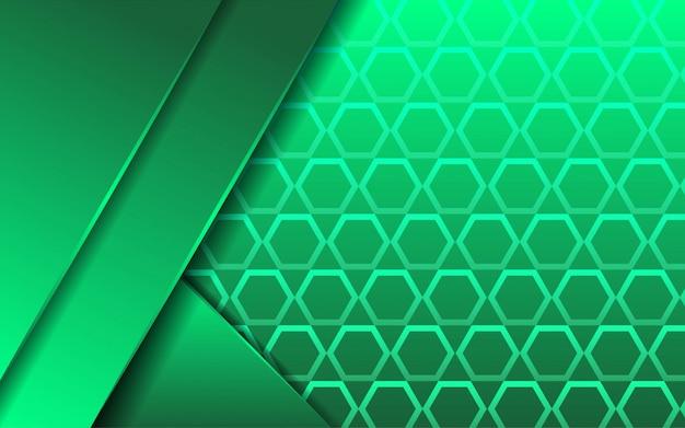 六角形のテクスチャでモダンな抽象プレミアム緑背景バナーデザイン