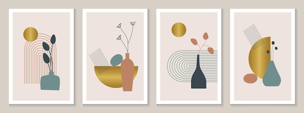 Modern abstract prints set with geometrical shapes and floral elements vector illustration