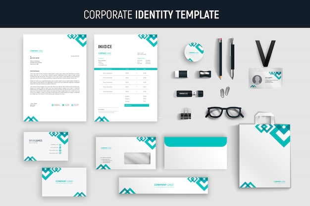 Modern abstract professional business stationery set