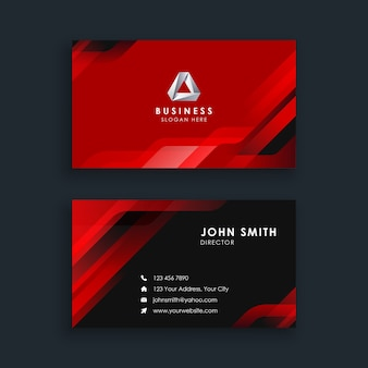 Modern abstract red business card template