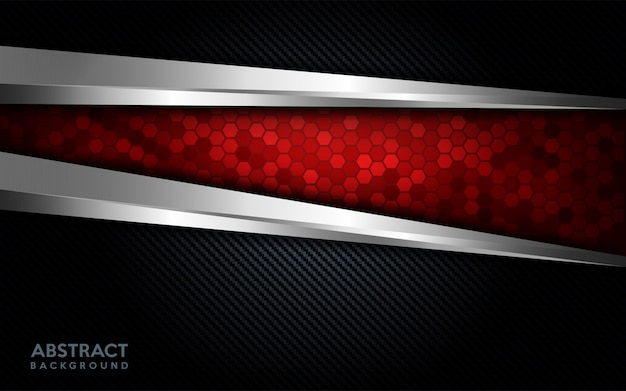 Modern abstract red tech with silver line and dark carbon background.