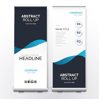 Modern abstract roll up with blue waves
