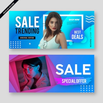 Modern abstract sale banner poster