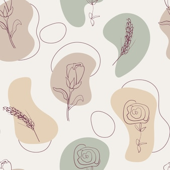 Modern abstract seamless pattern of geometric shapes and botanical plant elements