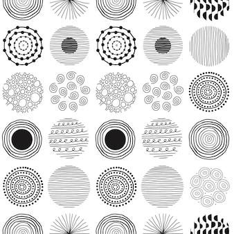 흰색 바탕에 선과 원의 검은색 둥근 모양이 있는 현대적인 추상 원활한 패턴