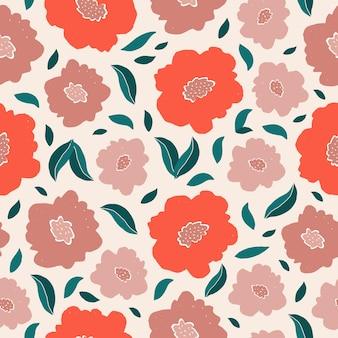 다채로운 꽃과 잎 현대 추상 원활한 패턴