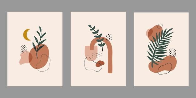 Современный абстрактный набор эстетических фонов с геометрическими формами баланса и ветвью