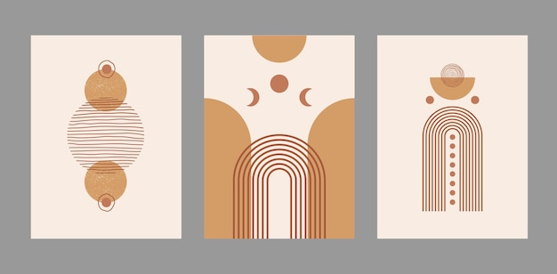 Современный абстрактный набор эстетических фонов с геометрическими формами баланса и линиями