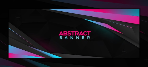 Modern abstract social media banner template with neon gradient color