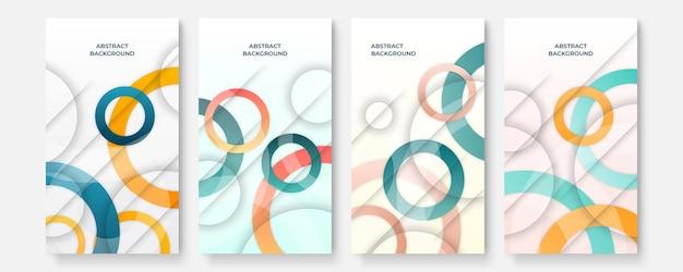 現代の抽象的なソーシャルメディアテンプレートカバーセット、最小限のカバーデザイン。カラフルな幾何学的な背景、ベクトルイラスト。