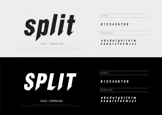 Modern abstract split font alphabet numbers italic