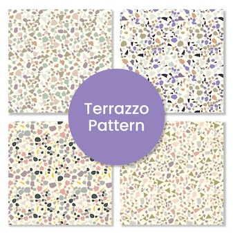 Modern abstract terrazzo pattern set with granite shapes.