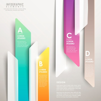 Modern abstract translucent arrow bar chart infographic elements